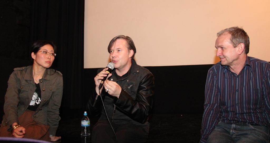 Kino 8 1/2: Fred Kelemen, HBK-Professorin Sung-Hyung Cho und Gastgeber Waldemar Spallek