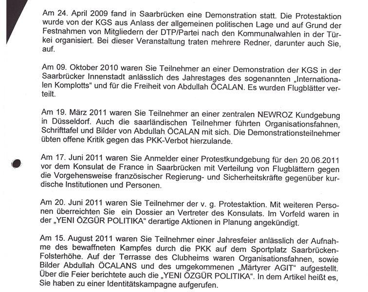 Auszug aus dem Beobachtungsbericht des Verfassungsschutzes